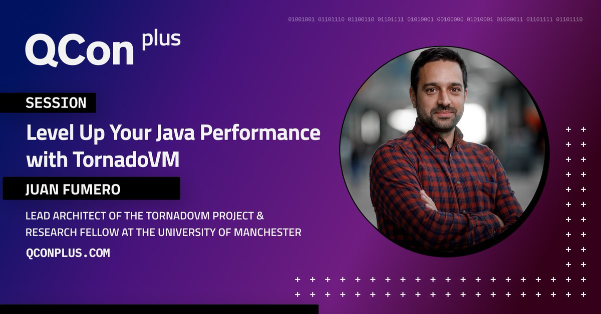 Excited to be speaking at the @QCon Plus online software development conference this November.   We'll deep-dive into the #TornadoVM APIs for GPU and FPGA programming, and give an overview of the OpenCL and PTX backends!  More information on the talk:  plus.qconferences.com/plus2021/prese…