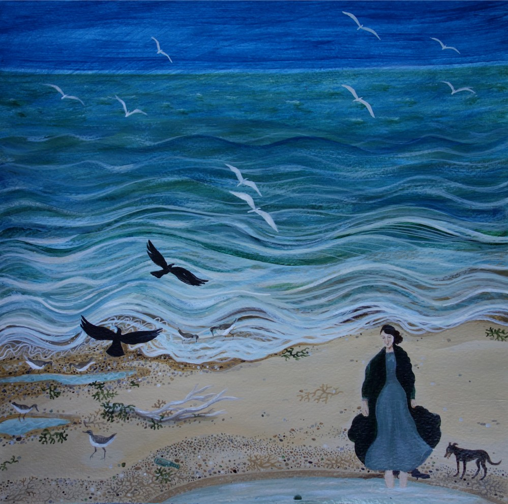 'Wading' by contemporary UK painter Dee Nickerson #WomensArt