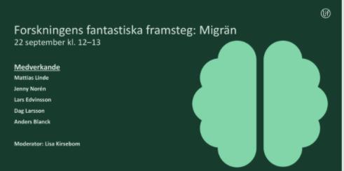 Ojämlik regional tillgång till nya migränbehandlingar trots nationella beslut. Personer med migrän får söka sig över regiongränserna. @LIFse webinar om forskningens framsteg med bl a @Huvudvarksforb https://t.co/KvVfv644Bq