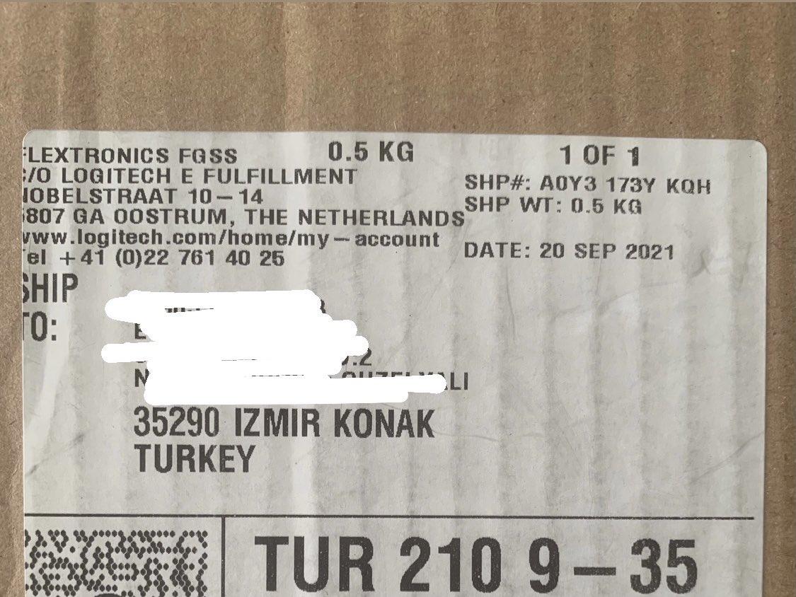 Logitech'in 20 Eylül'de Hollanda'dan kargoya verdiği ürün 2 günde elime ulaştı, hayır ağlamıyorum 