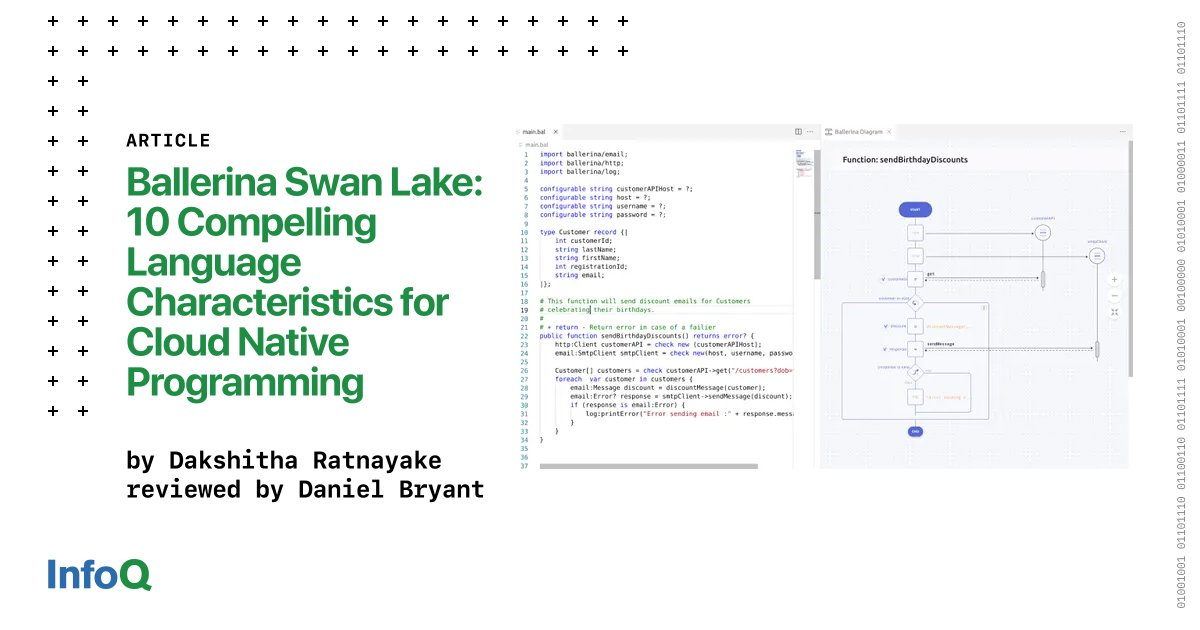 ICYMI - Ballerina Swan Lake: 10 Compelling Language Characteristics for Cloud Native Programming The latest Swan Lake release further simplifies building and deploying cloud native apps. Find out more: bit.ly/3Cm0rLu @techieducky @danielbryantuk #Cloud #CloudNative