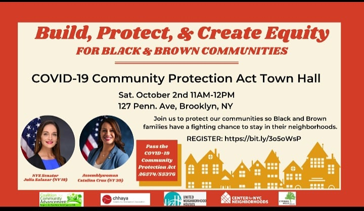 While real NYC families are struggling, real estate investors are getting rich through flipping & cash buying of small homes in NYC neighborhoods. Join us for a town hall on Oct 2nd to PASS The COVID-19 Community Protection Act: bit.ly/3o5oWsP #HOUSINGJUSTICE