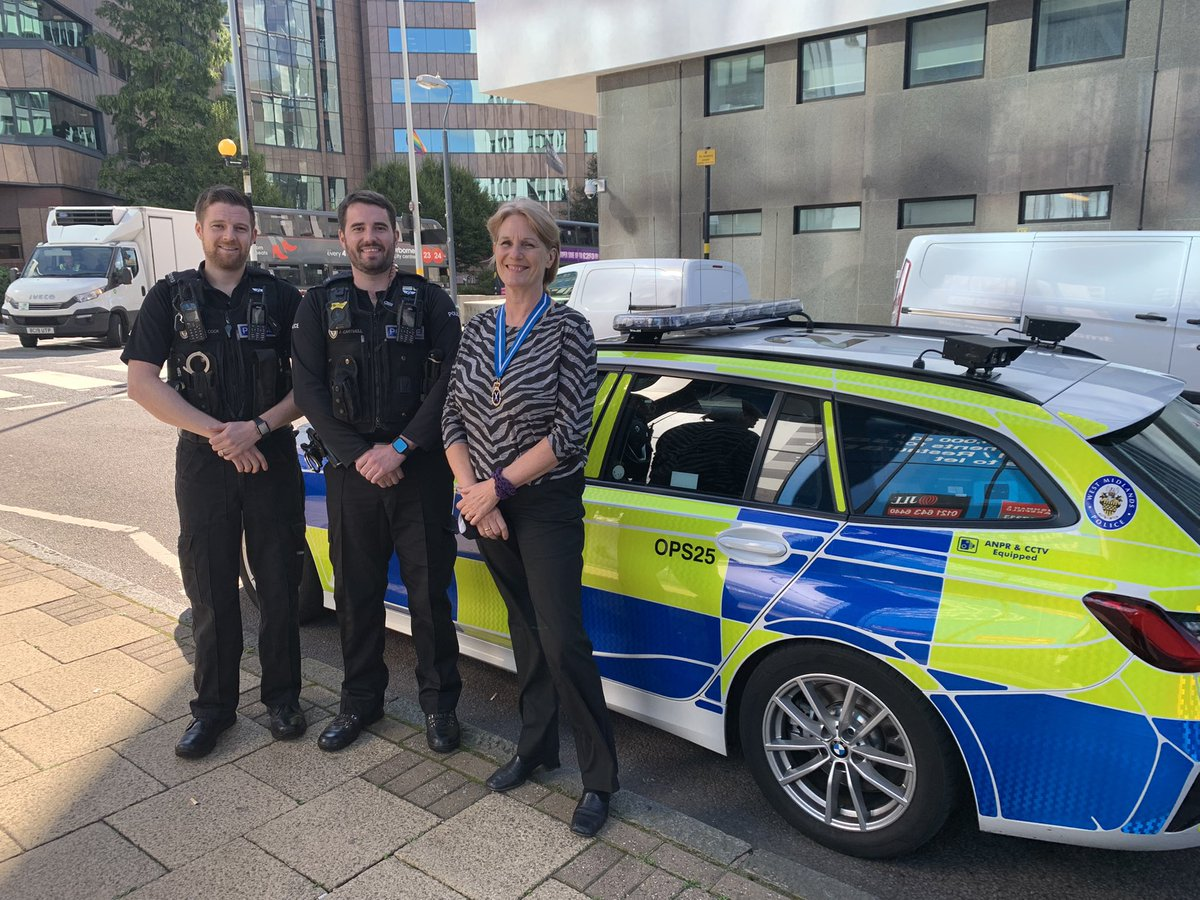 Special guest in the car today @HighSheriffWM21 Whilst on patrol we spoke about our role on roads policing and how we contribute to the force priorities. @DaveThompsonCC @RichAgarWMP @StomaCopWMP