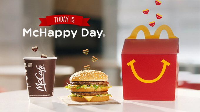 It's #McHappyDay! Eat well, do some good! A portion of the proceeds from EVERY menu item sold all day will support Ronald McDonald House Charities programs across Canada and local children's charities.
