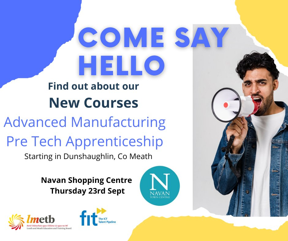 We have a small number of spaces available for the Advanced Manufacturing in Dunshaughlin Meath.  Local Training Initiative Full Time – 39 weeks Fully Funded Training Allowance available  Drop by Navan Shopping Centre to find out more  https://t.co/tZkpZYYQb7