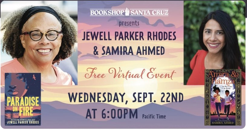 I get to be in convo with absolute icon @jewell_p_rhodes tonight @BookshopSC at 6pm PST. Join us! crowdcast.io/e/jewell-parke…