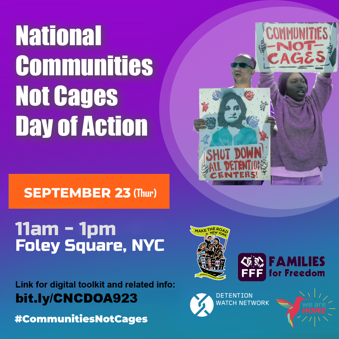 🗣️NO MORE DEPORTATIONS! Join us tomorrow, Sept. 23, at 11 am at Foley Square for the National #CommunitiesNotCages Day of Action.