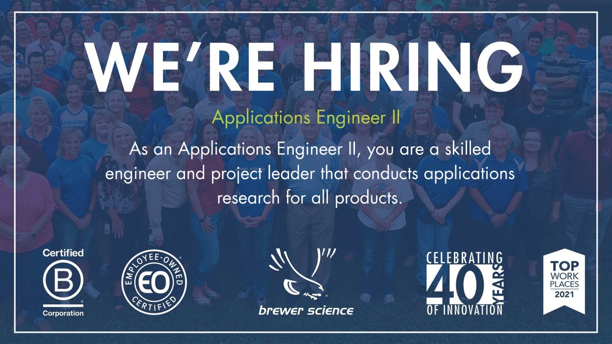 test Twitter Media - Brewer Science is looking for an Applications Engineer II to join the team in Rolla, MO. Learn more about the position and other current job openings by visiting : https://t.co/OKMnwC2OA5 https://t.co/Ht41pb5lFV