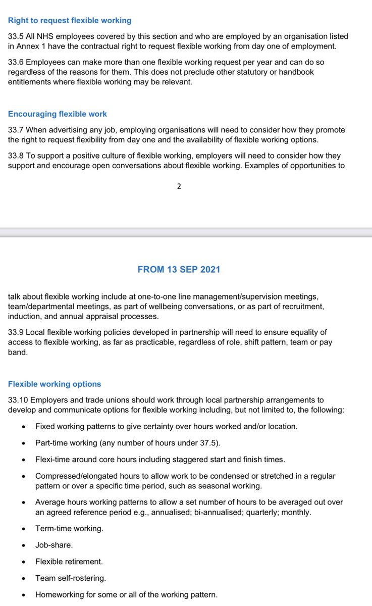 So, your NHS terms and conditions have changed to include a right to request flexible working from day one of employment! OMG! Here's some of the small print. But what does it mean for you? A short 🧵 1/7 #flexibleworking