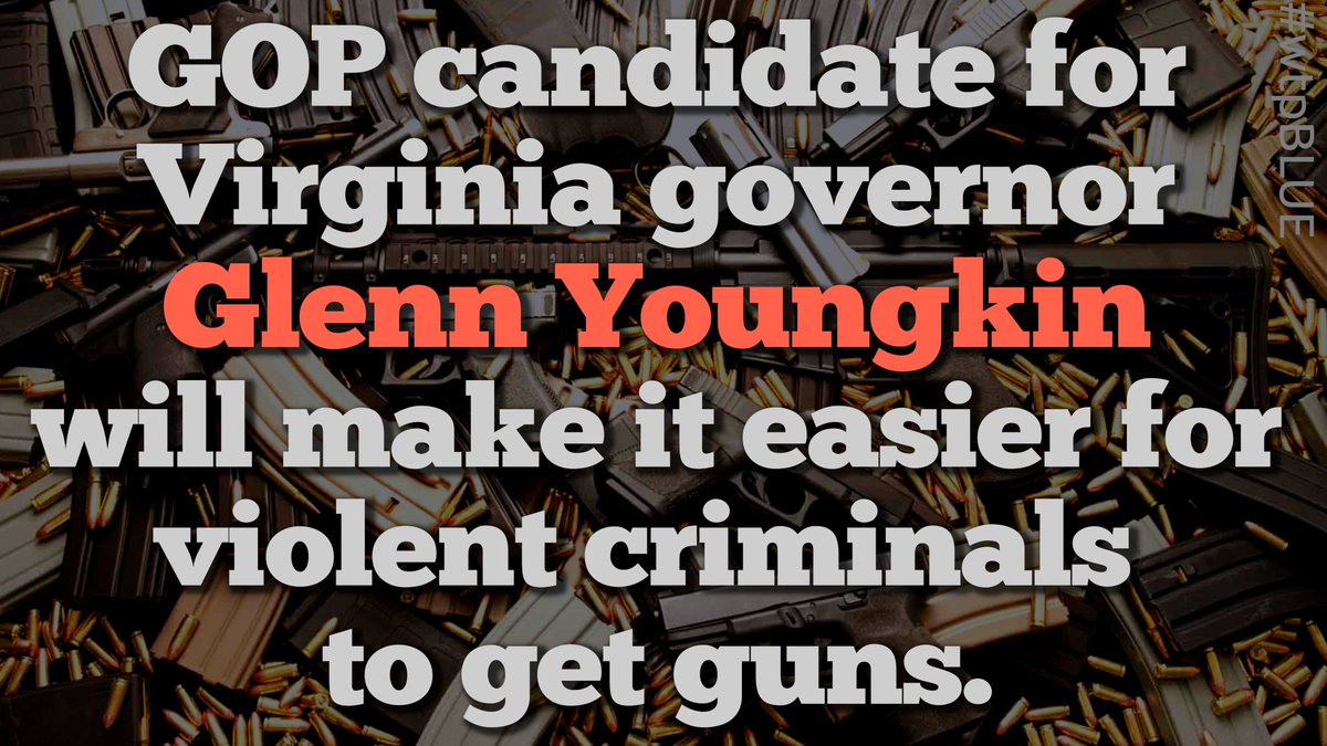 """A lifetime member of the NRA, Youngkin has pledged to rescind VA's gun laws, including:  🔫The """"red flag"""" law  🔫A limit of 1 handgun purchase per month  🔫Criminal background checks for all firearms sales  #wtpBLUE @wtpBLUE #wtp1015 https://t.co/b7bo1SpKWU"""