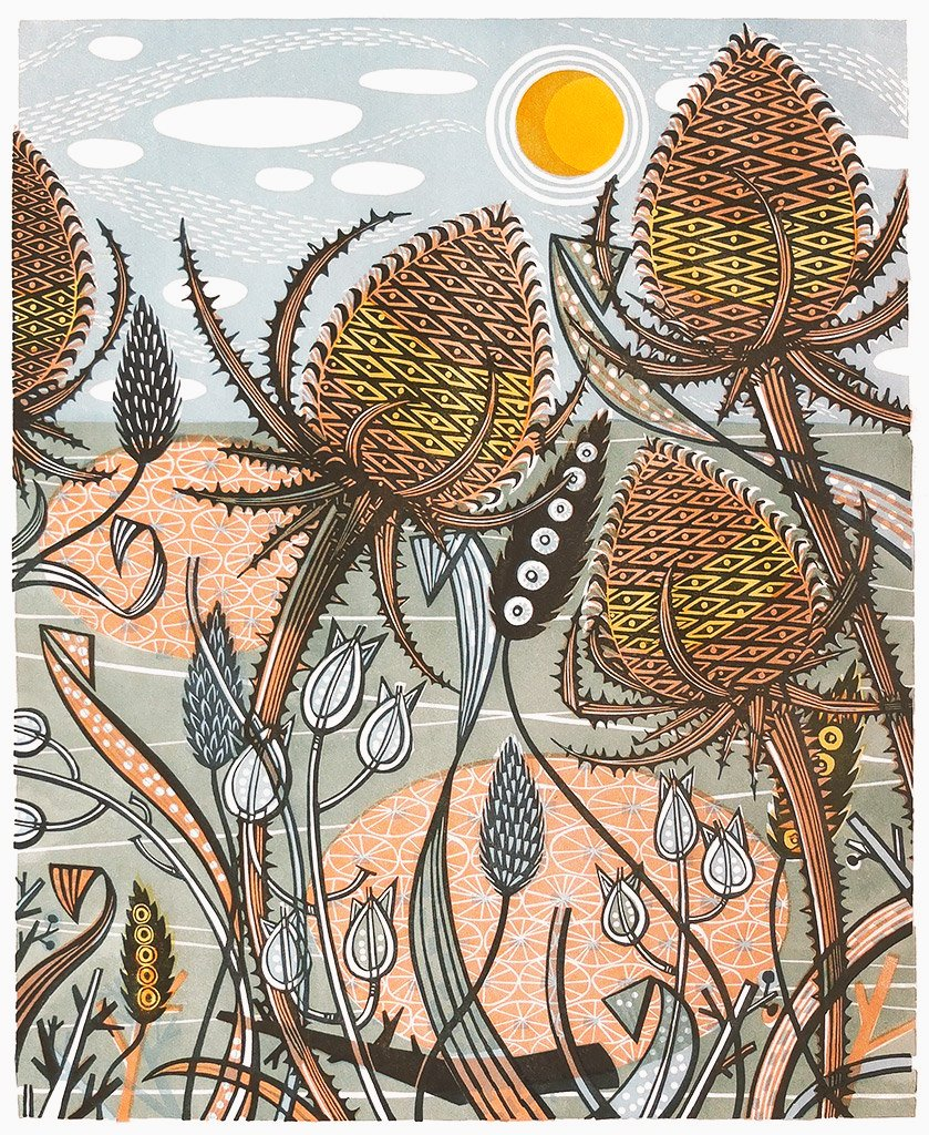 'Autumn Teasels' by contemporary printmaker Angie Lewin #WomensArt