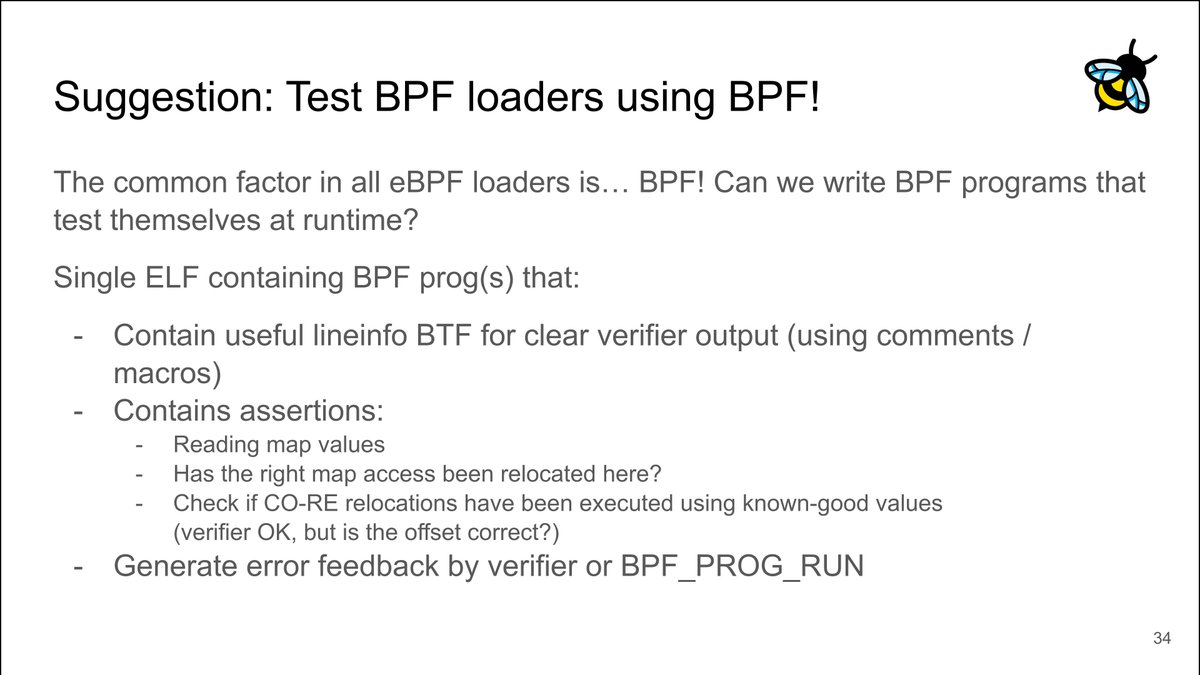 Timo Beckers takes over at #LinuxPlumbers and proposes to use self-contained BPF tests to ensure compatibility between libbpf and all the userspace #eBPF libraries. Slides: linuxplumbersconf.org/event/11/contr… Stream: lpc2021.org/2021/09/19/bpf…