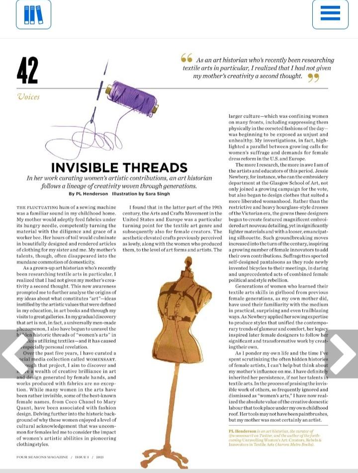 For anyone interested, my latest article on textile arts and Western female fashions. fourseasonsmagazine-digital.com/fourseasonsmag…