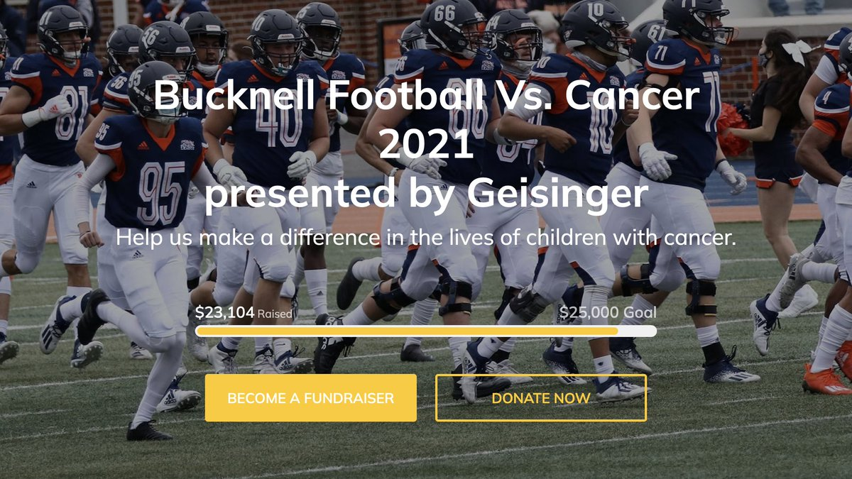 We've almost reached our @Vs_Cancer fundraising goal of $25,000! Please consider making a donation to support @GeisingerHealth Janet Weis Children's Hospital and @PBTF. Info: bit.ly/3ymn7sT   #rayBucknell