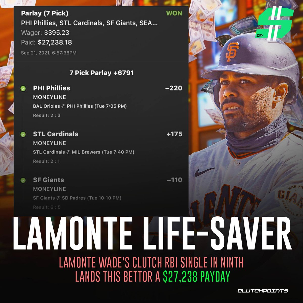 LaMonte Wade has come through clutch for Giants bettors all year, but this hit might be the most memorable for it's playoff implications and five figure bonus 🤑