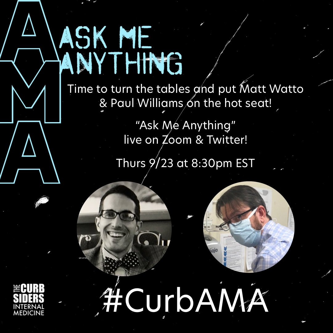 Pre-register for our 'Ask Me Anything' questionpalooza with our co-hosts @DoctorWatto & @PaulNWilliamz! Going live on 9/23 at 8:30PM EST! If you can't make it but want to ask a question anyway, tag us with #CurbAMA! We are planning to record the event us02web.zoom.us/meeting/regist…