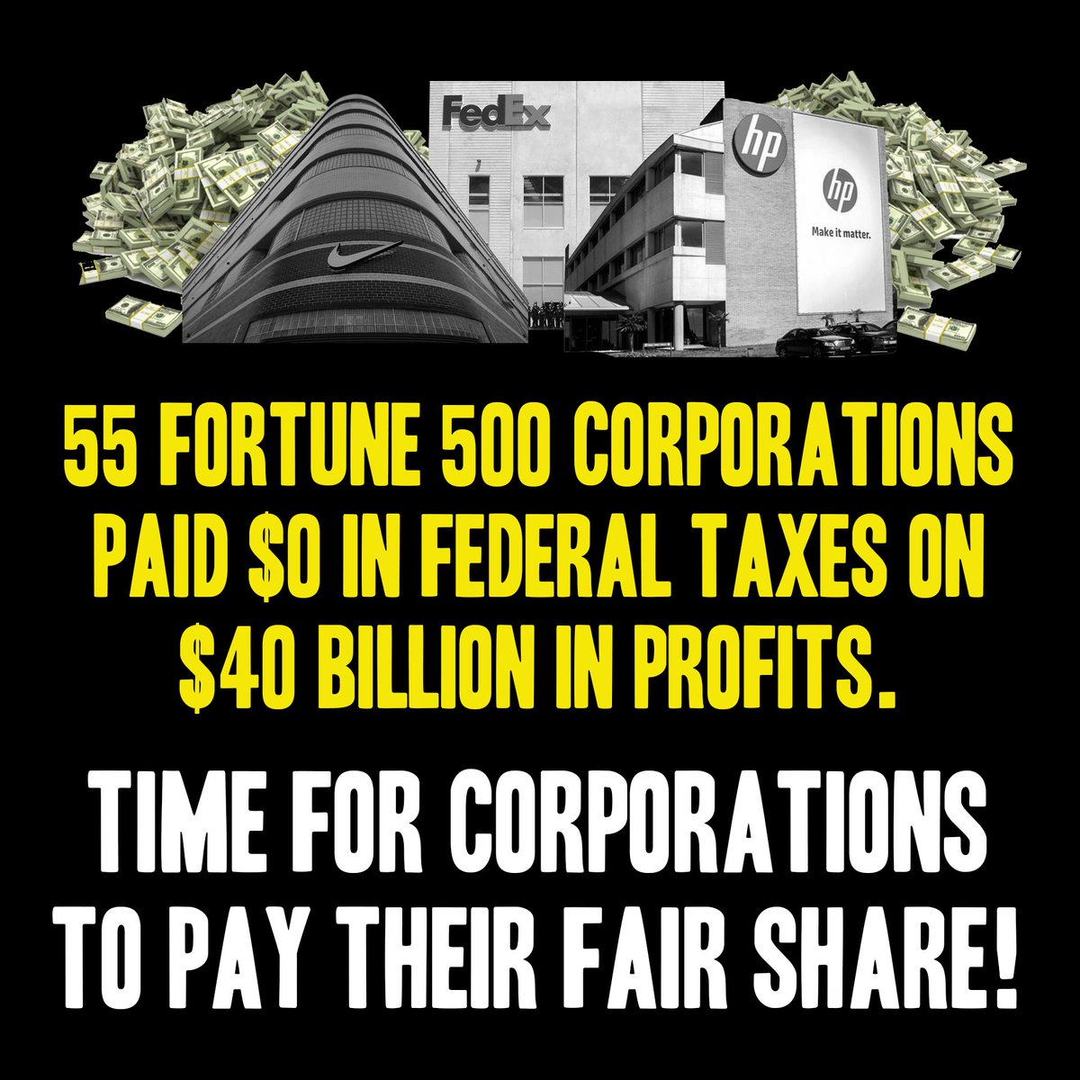 Billionaires and corporations are getting away with paying $0 in federal income taxes while teachers and nurses pay their fair share. Wealthy tax cheats cost us $163 billion a year. That's what we're talking about when we say it's time for our tax code to #RewardWorkNotWealth.