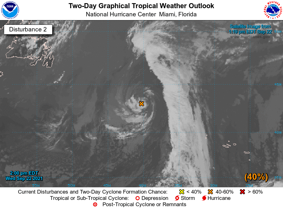 2PM EDT 22 Sep: NHC is watching 2 NATL areas with potential for TC/STC development. 1) A tropical wave SW of the Cabo Verde Islands has a high chance of formation (near 100%🔴) 2) A gale-force low WNW of the Azores has a medium chance of formation (60%🟠) nhc.noaa.gov/gtwo.php?basin…