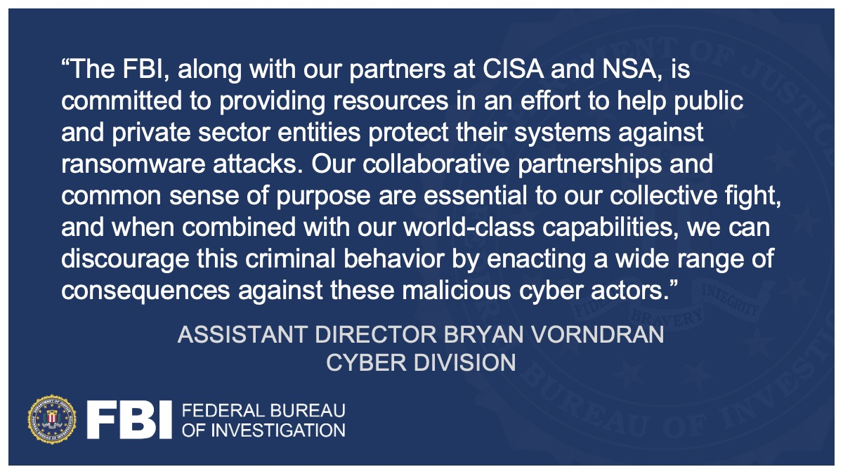 The #FBI, @CISAgov, and @NSACyber published a joint cybersecurity advisory to combat a recent rise in Conti ransomware cyberattacks. Please review our guidance for proactive steps to take to reduce your organization's risk of being a ransomware victim. go.usa.gov/xM5QA
