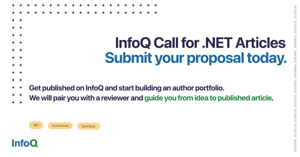 Are you passionate about the latest developments in .NET? Do you want to share your knowledge and connect with industry professionals? Join the InfoQ .NET News Editors team: bit.ly/3pgyWgD #dotnetcore #dotNet5 #womenintech, #diversityintech, #WOCinTech #WomenOfDotNet