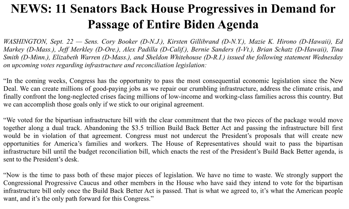Progressives in both chambers of Congress are clear: We have to meet this moment and build back better.   Thank you to @SenSanders and our Senate colleagues for insisting we stick to the deal and pass the President's entire agenda. https://t.co/XMNB9IT42Z
