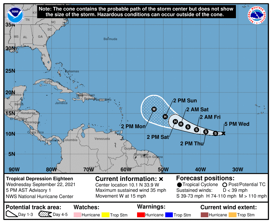 TD18/AL98 predicted to beef up and become 'Sam', then HUR Sam, then MHUR Sam by next week. Crazy. #WXTwitter #WXGeek