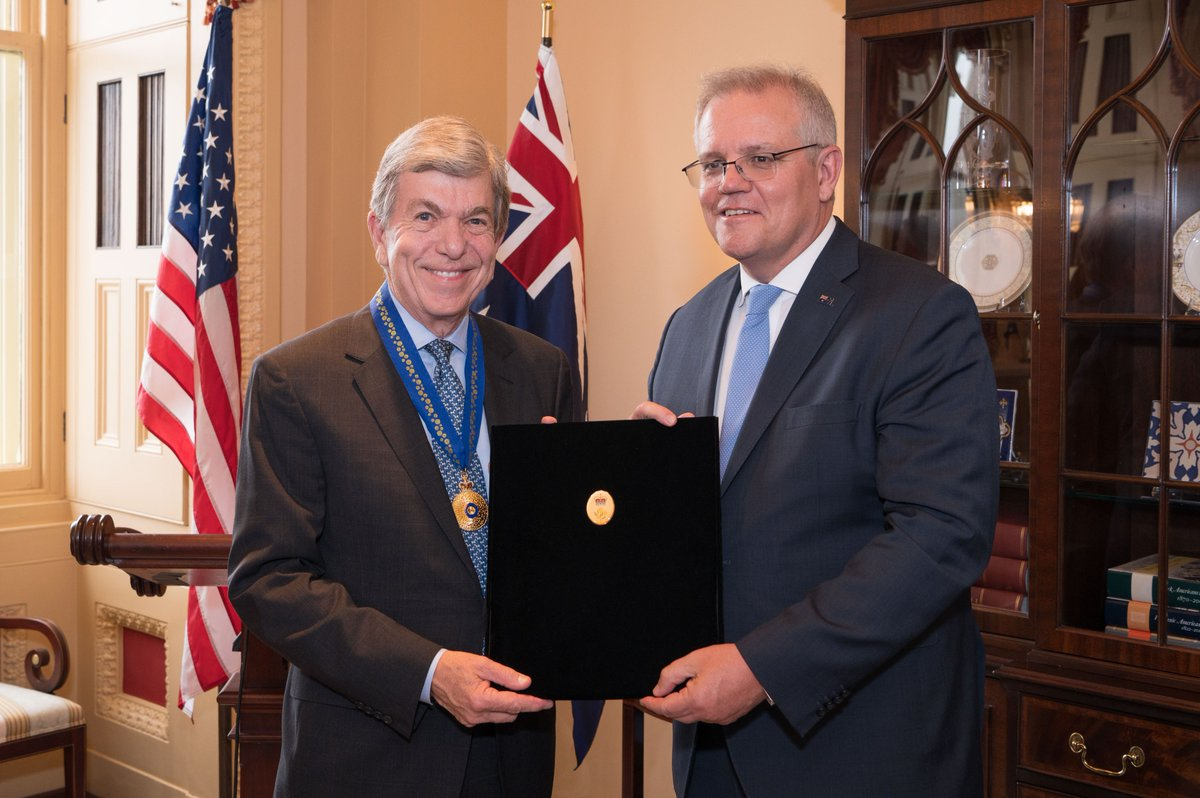 Today, I was humbled to be named an Honorary Officer of the Order of Australia. Thank you to Prime Minister @ScottMorrisonMP and Ambassador @A_Sinodinos for all you've done, and continue to do, to strengthen the close and enduring friendship between our nations.