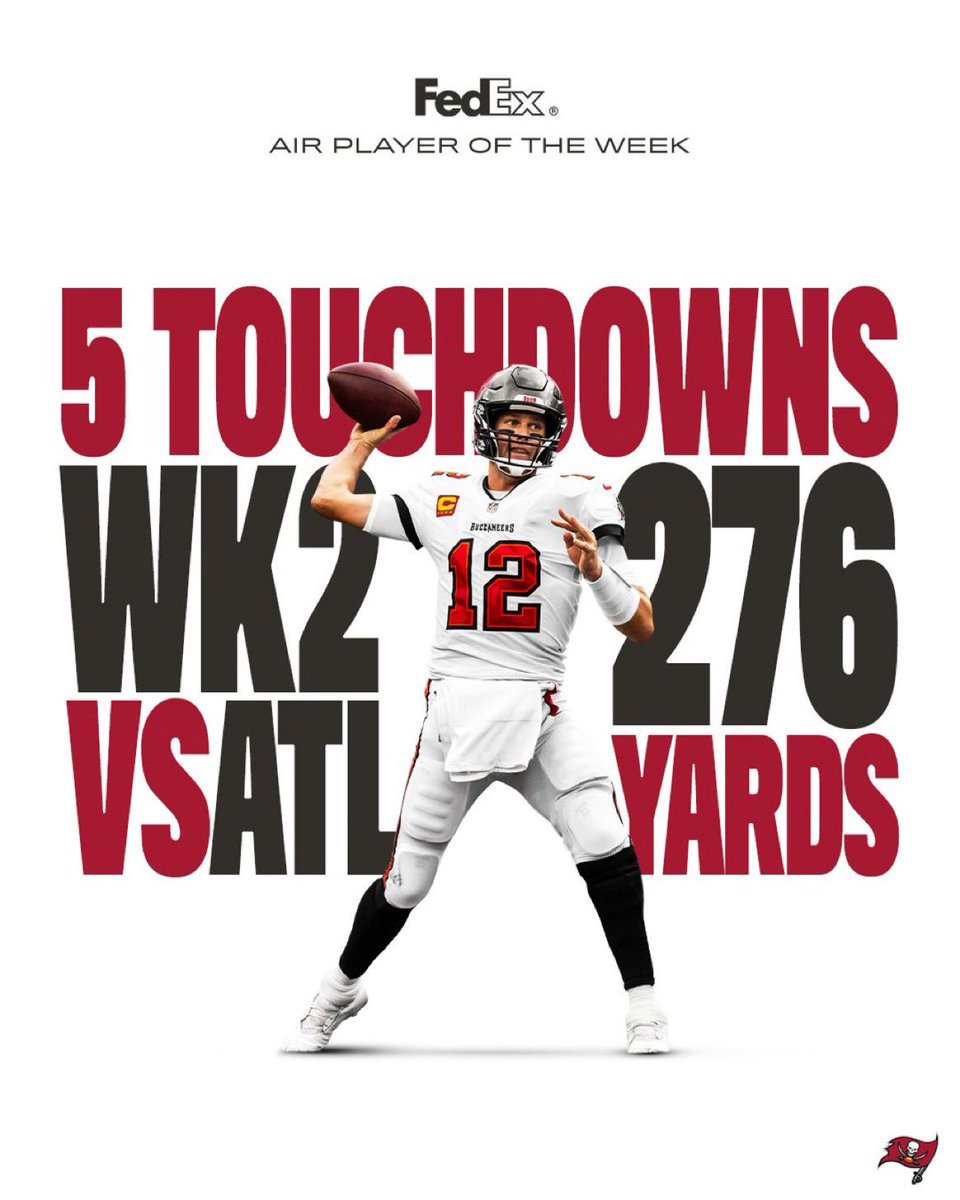 RT @TomBradyEgo: For the 2nd straight week Tom Brady has been named FedEx Air player of the Week #GoBucs https://t.co/q71UlS4Dy6