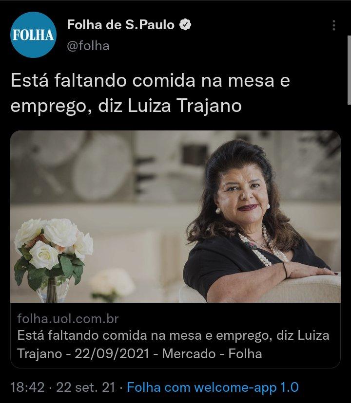 RT @oiIuiz: Ué, Luiza Trajano, é só seguir o conselho da Luiza Trajano. https://t.co/Q54PzKDFK9