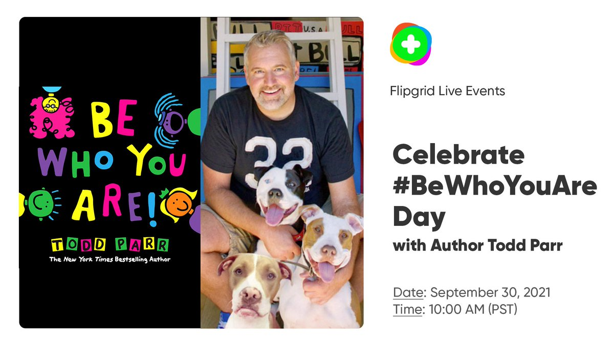 Celebrate #BeWhoYouAreDay on September 30 at 10AM PT with author @ToddParr! Learners will practice the art of celebrating themselves and feeling comfortable in their own skin. Register here: aka.ms/ToddParr @LittleBrownYR @lbschool