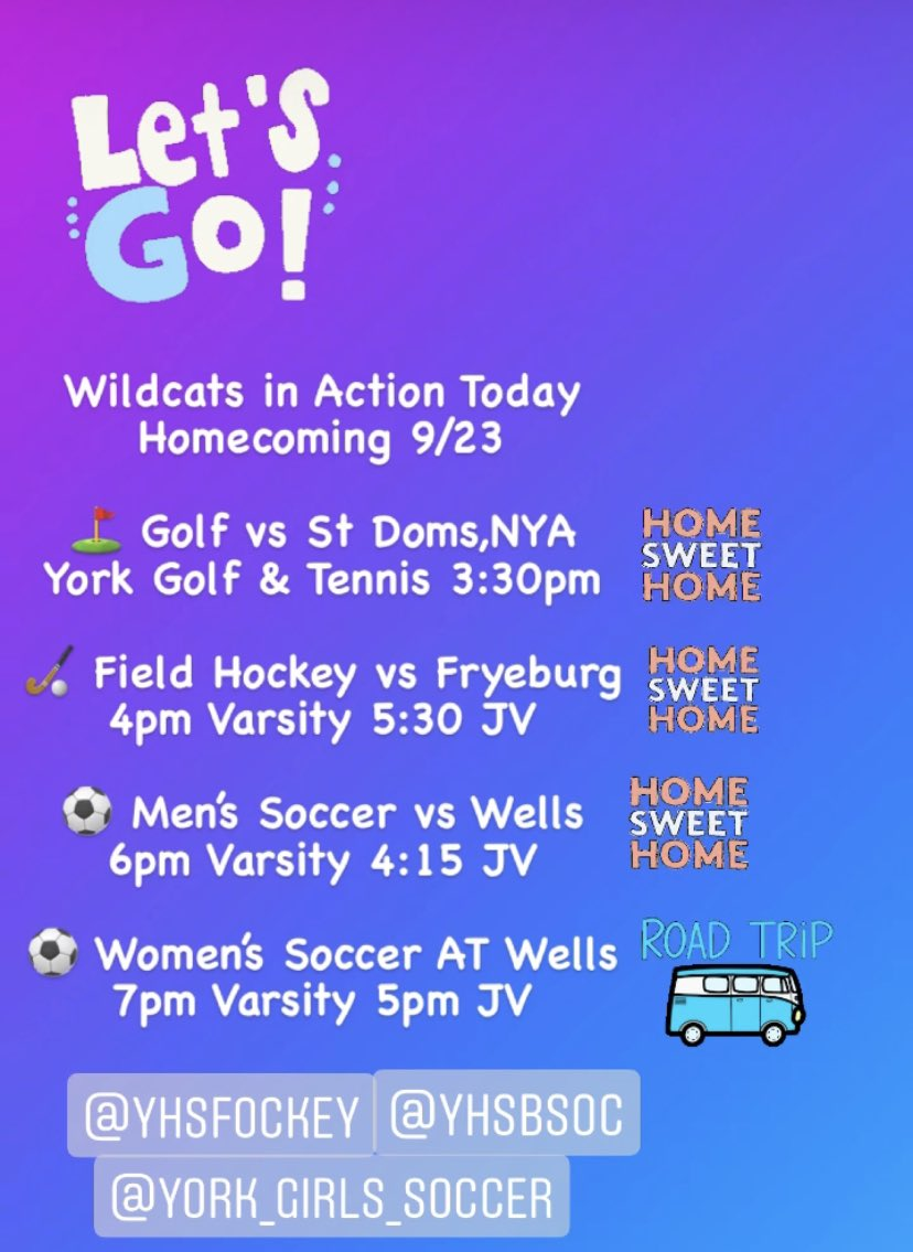 test Twitter Media - Homecoming ramps back up again with Golf, Field Hockey and Men's Soccer all at HOME today! Let's get out in force and cheer on these Wildcat's! 🐾🐾🐾  Women's soccer on the road at Wells as they look forward to their Homecoming game on Saturday!  🐾⚽️⛳️🏑🏐⚽️ https://t.co/dh6Vpz6LQK