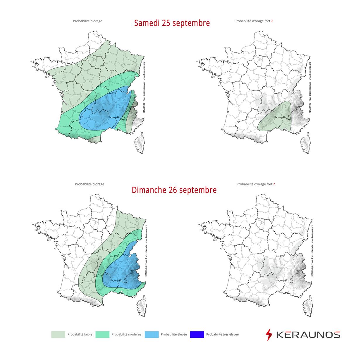 Samedi, des pluies parfois fortes et orageuses circuleront des #Pyrénées aux #Alpes avec une probabilité plus significative d'#orages entre #Cévennes et vallée du #Rhône.   Dimanche, les #pluies orageuses se concentreront sur un grand quart sud-est ->