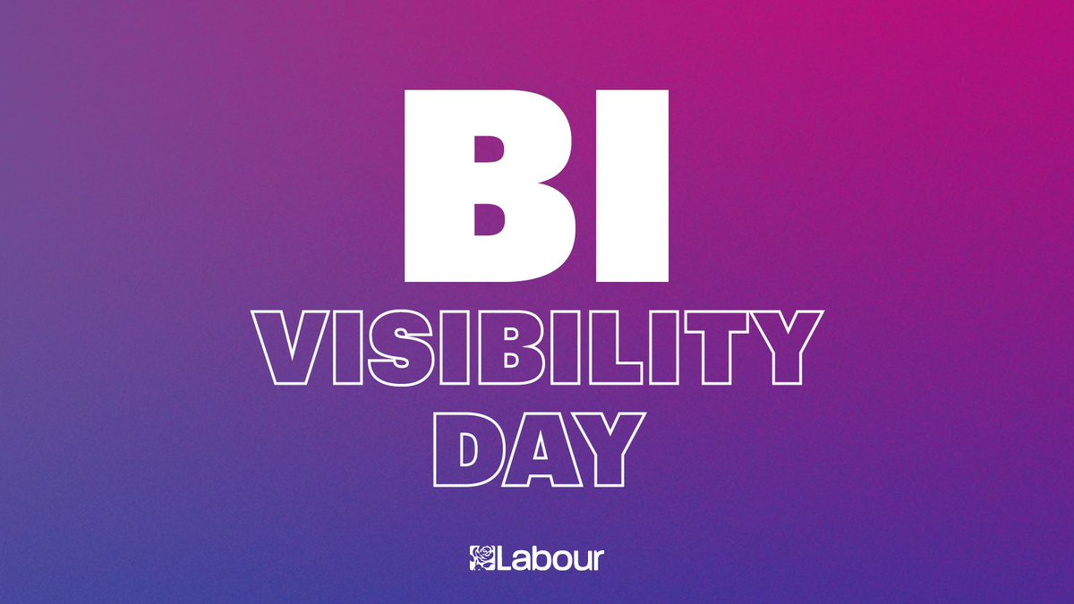 Today is #BiVisibilityDay LGBT+ rights are human rights. Labour is proud to stand with the LGBT+ community.