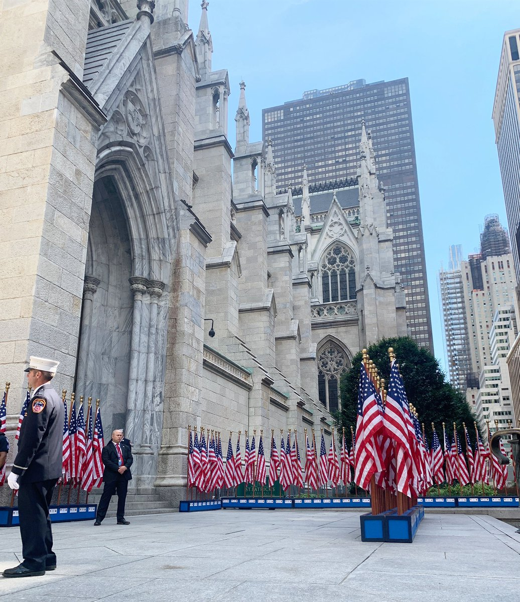 This was the beautiful display in front of St. Patrick's Cathedral today in midtown. I was in New York 20 years ago and remember feeling scared and helpless. That's not the feeing today. The people here rebuilt and recovered, but they will never forget. I love you, New York. ❤️ https://t.co/wUj9Ey9Vv2
