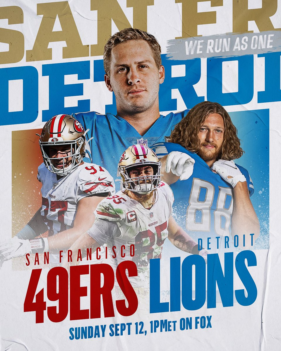 The @49ers head on the road to take on the @Lions. Who do you have winning this one? #WeRunAsOne 📺: #SFvsDET -- Tomorrow at 1pm ET on FOX 📱: NFL App