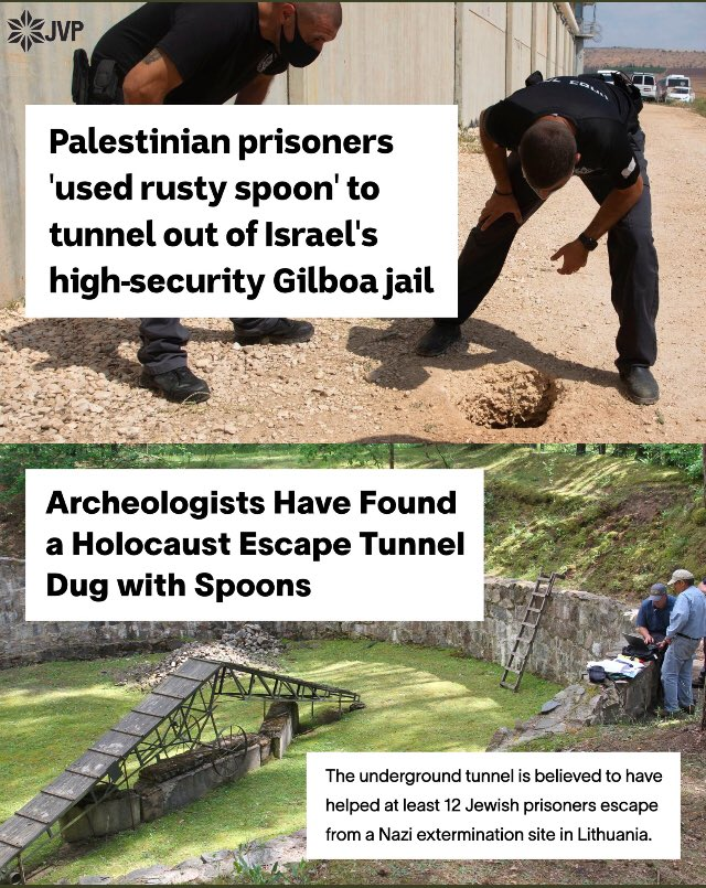 Terrorists in prison for violence against civilians = Holocaust victims facing murder due to their identity. Jewish Voice for Peace shared this graphic just after Shabbat started, so I missed it.