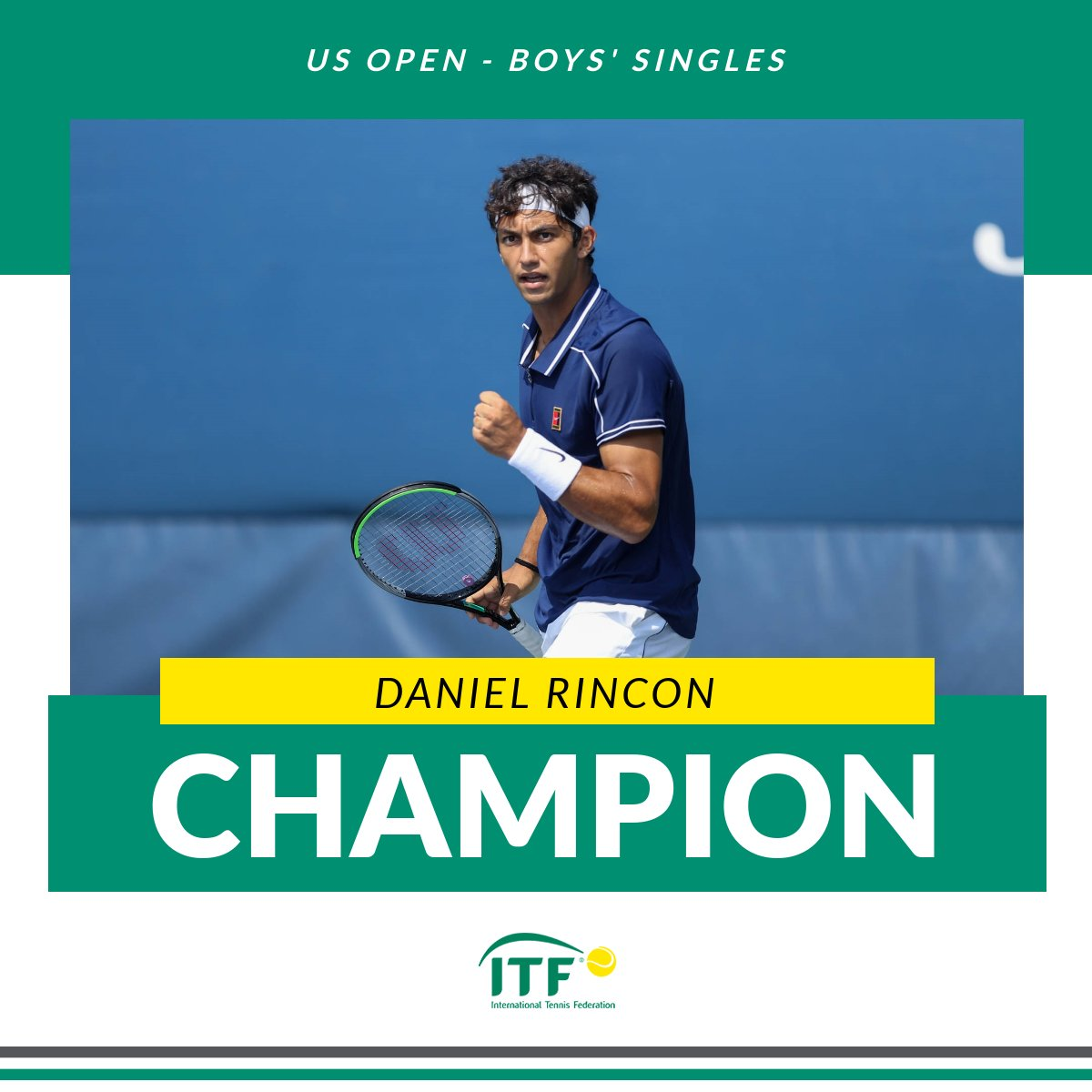 Congratulations to Daniel Rincón 🇪🇸, who claimed the #USOpen boys' singles title after a 6-2 7-6(6) win over Juncheng Shang 🇨🇳 in the final.