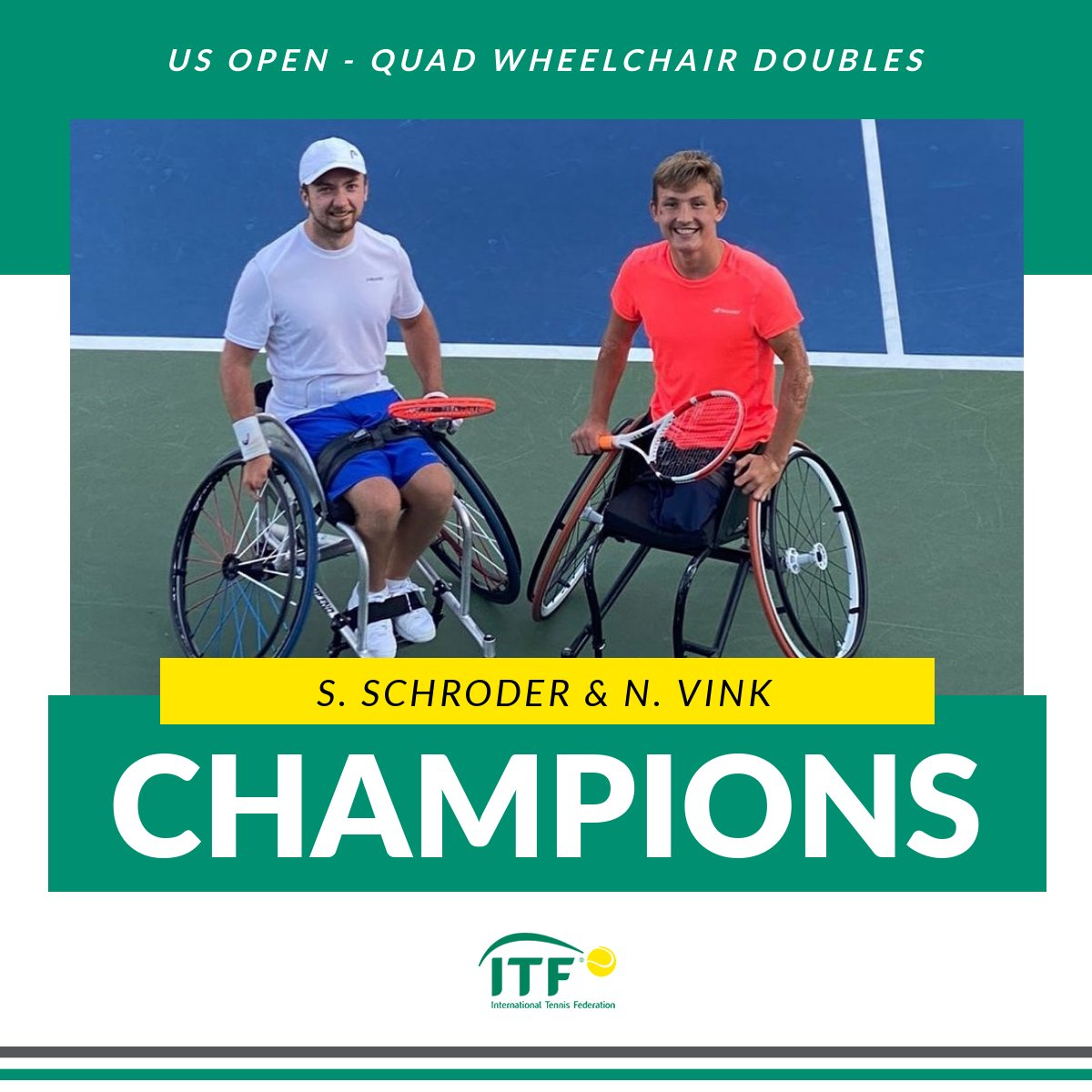 🇳🇱🇳🇱 @SamWCTennis & Niels Vink win the #USOpen Quad Wheelchair Doubles title after defeating Dylan Alcott & Heath Davidson 6-3 6-2! 👏