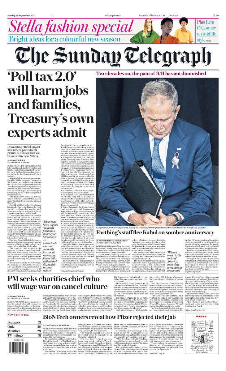 The front page of tomorrow's Sunday Telegraph: 'Poll tax 2.0' will harm jobs and families, Treasury's own experts admit #TomorrowsPapersToday Sign up for the Front Page newsletter telegraph.co.uk/frontpage-news…