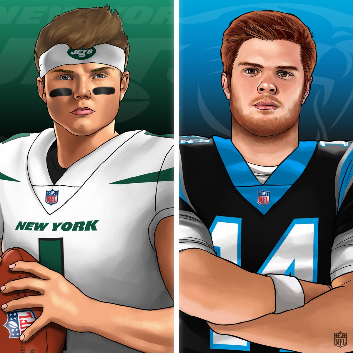 The debut of @ZachWilson vs. Sam Darnold in his new threads. Who is winning this Week 1 game?  📺: #NYJvsCAR -- Tomorrow at 1pm ET on CBS 📱: NFL app