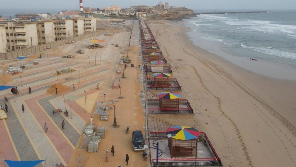 A promenade is being developed in Manora Island Beach. (Murtaza Wahab)