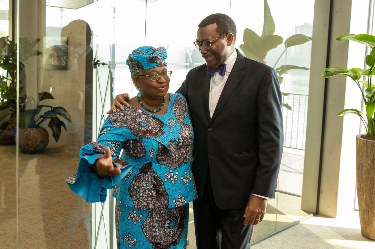 With my dear sister @NOIweala Director General of WTO at the @GCAdaptation Meeting in Rotterdam. We made strong cases for Africa on climate adaptation and resilience, financing and climate sensitive trade. We will work together on pharmaceuticals in Africa. 