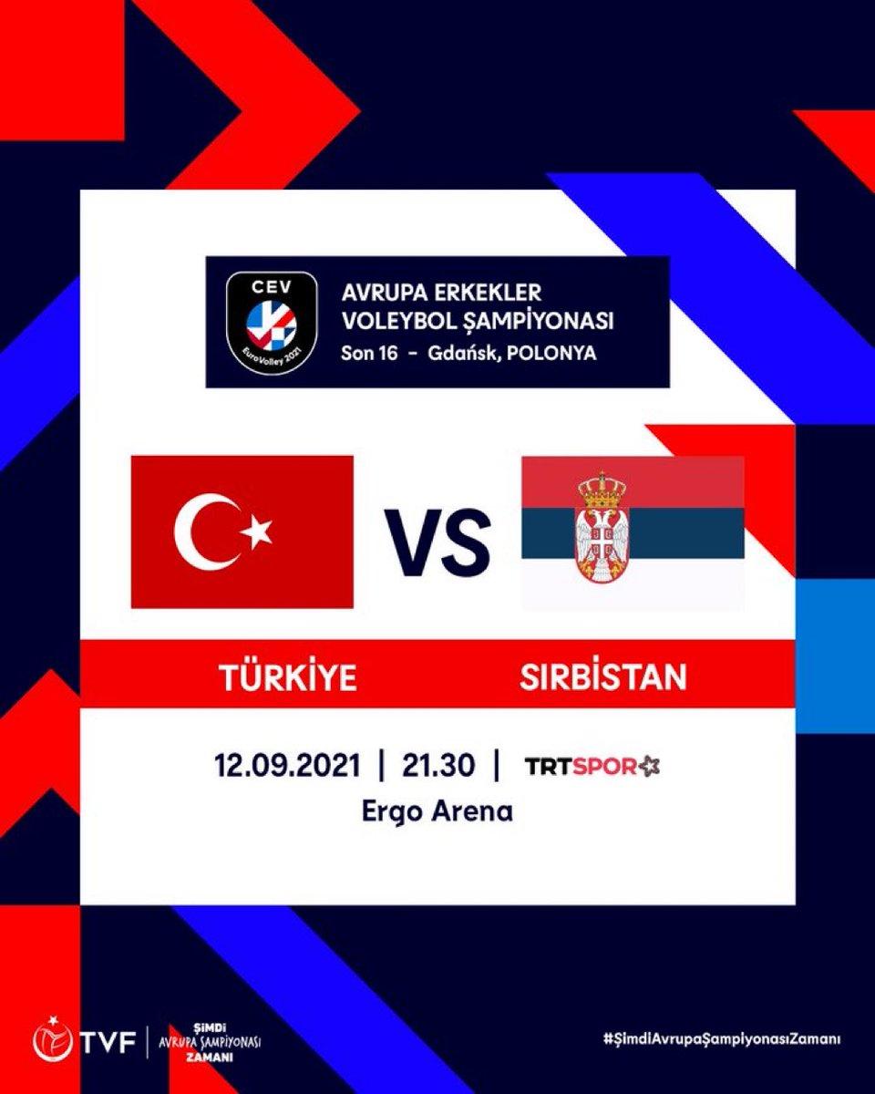 🏆 2021 Erkekler Avrupa Voleybol Şampiyonası son 16 turunda rakibimiz Sırbistan!👀 📅 12 Eylül Pazar 🕣 21.30 (TSİ) 📺 TRT Yıldız Spor 📍 Ergo Arena