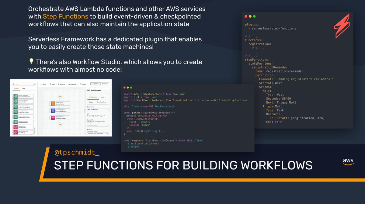 🏗 AWS/Serverless Tip 💛  Start using Step Functions for creating automated workflows easily!  Besides using Serverless Framework, there's also AWS Step Functions Workflow Studio which allows you to create workflows via a beautiful interface with almost zero coding!