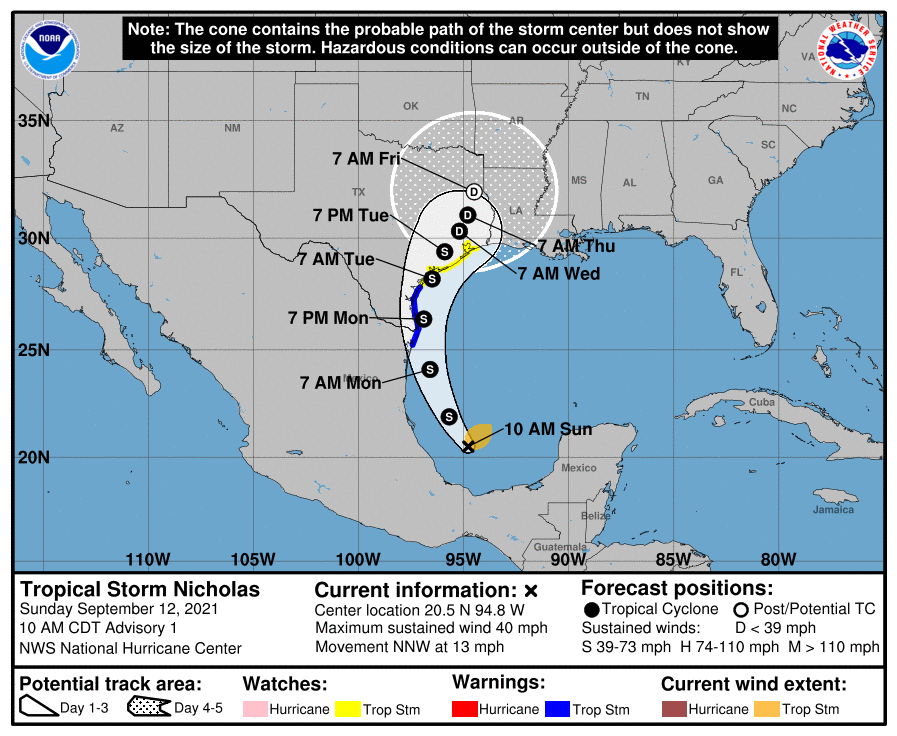 Tropical Storm Nicholas formed in the southwestern Gulf of Mexico this morning. Tropical Storm Warnings and Watches have been issued for the coast of Texas.