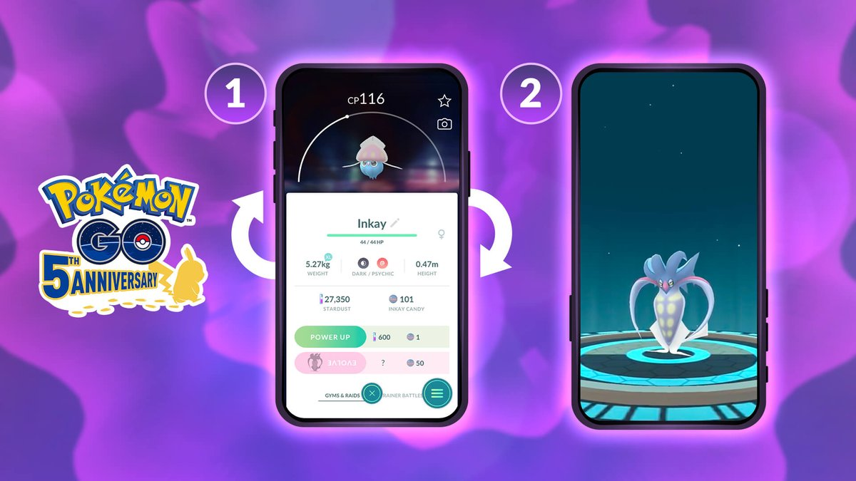 Have you figured out how to evolve Inkay yet? Here's a handy infographic to show you how! Tag a friend who might need this tip!