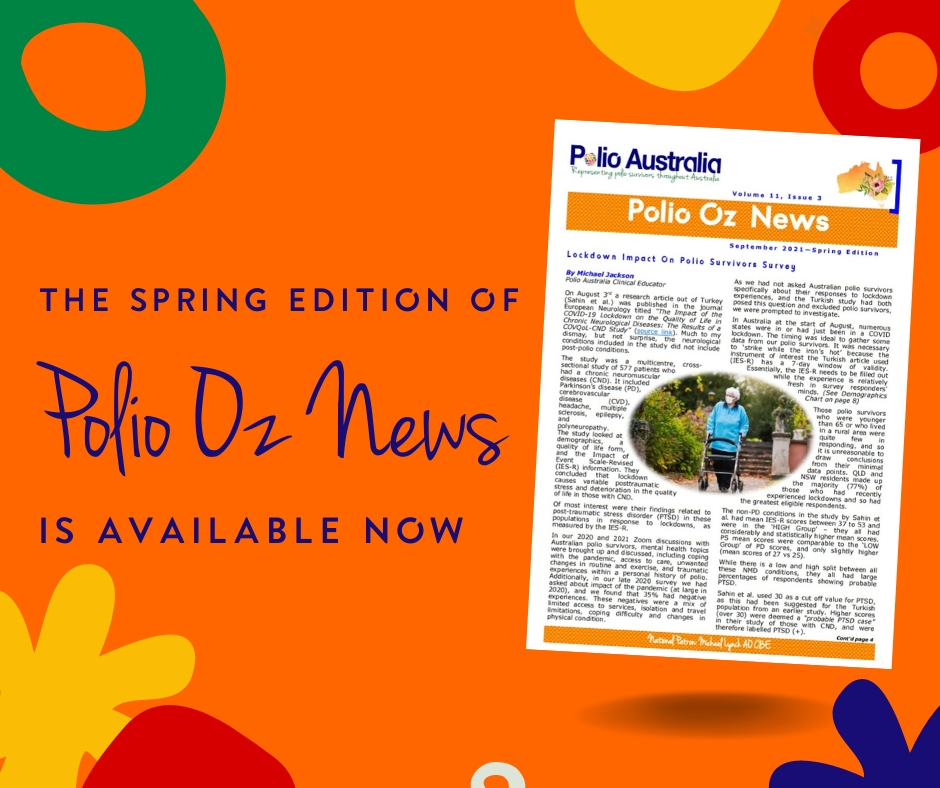 Our latest edition of Polio Oz News has been published.  Read it here: 🔗https://t.co/gokDztELxC If you would like to receive Polio Oz News, email us at office@polioaustralia.org.au and we will add you to our mailing list.