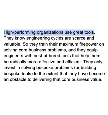 I was just editing the o11y book chapter on build vs buy and ROI, and this sentence jumped out at me: 'High-performing organizations use great tools.'