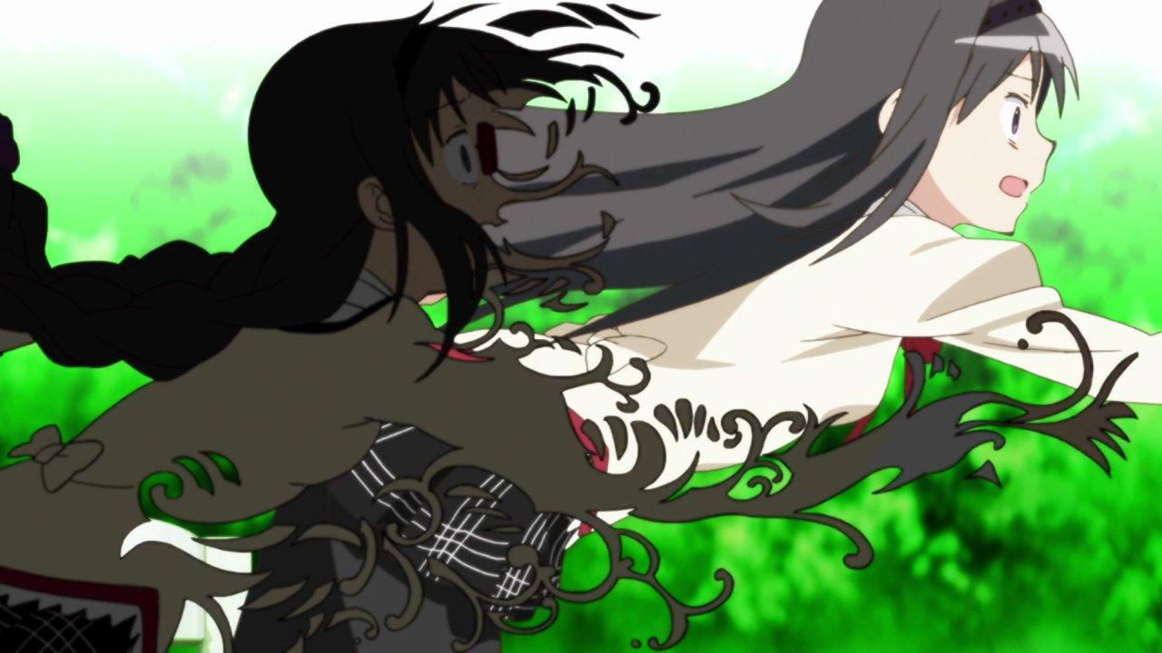 Homura reaching through a disintegrating shadow of herself