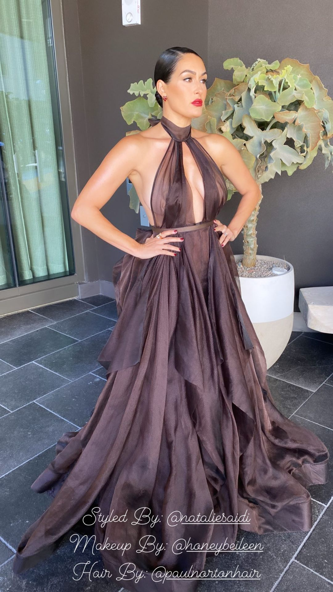 WWE Star Nikki Bella Shows Off Her Gown From Emmy 2021 Appearance 2